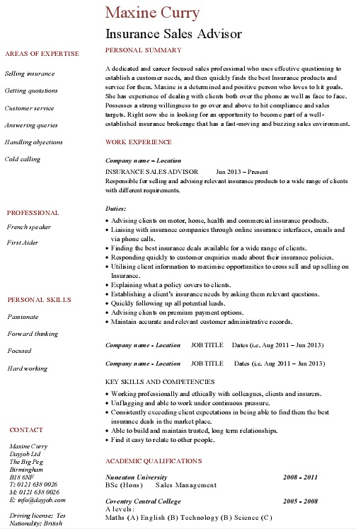 insurance agent job resume