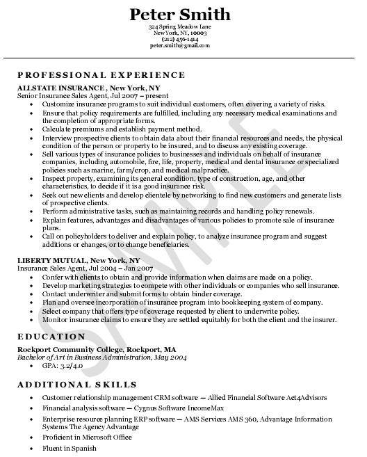 insurance agent skills resume