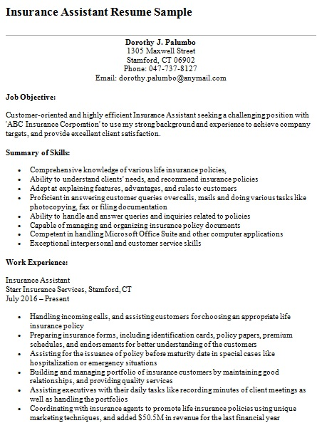 insurance assistant resume