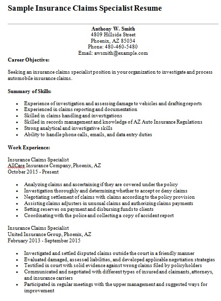 insurance claims specialist resume