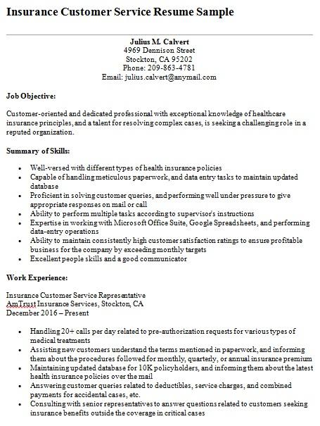 insurance customer service resume