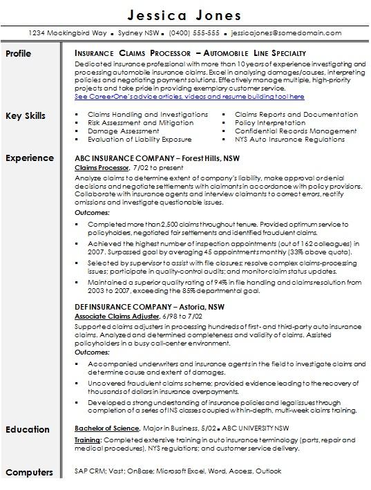 insurance resume template