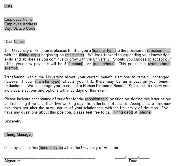 job transfer offer letter template