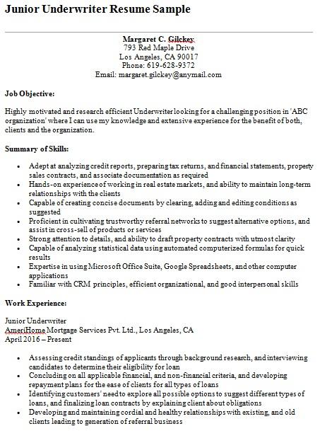 junior underwriter resume