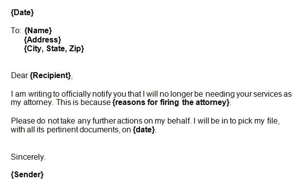 letter firing lawyer