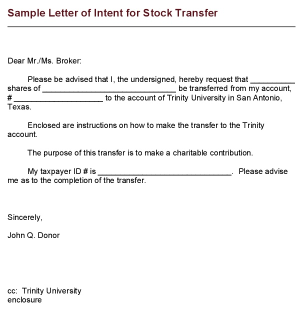 letter of intent for stock transfer