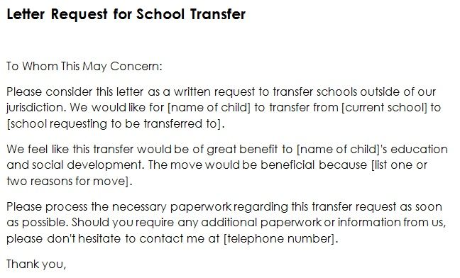 letter request for school transfer