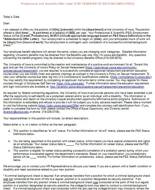 offer letter for position transfer
