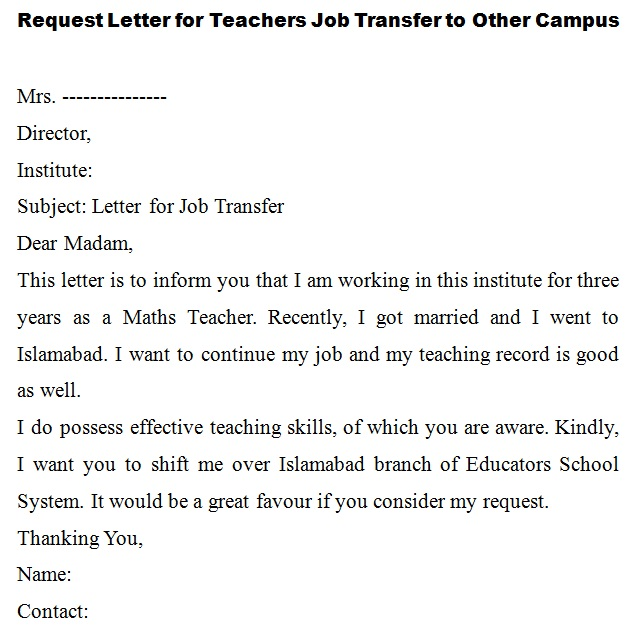 request letter for teachers Job transfer to other campus