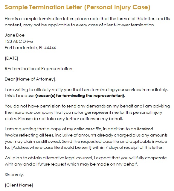 sample attorney termination letter