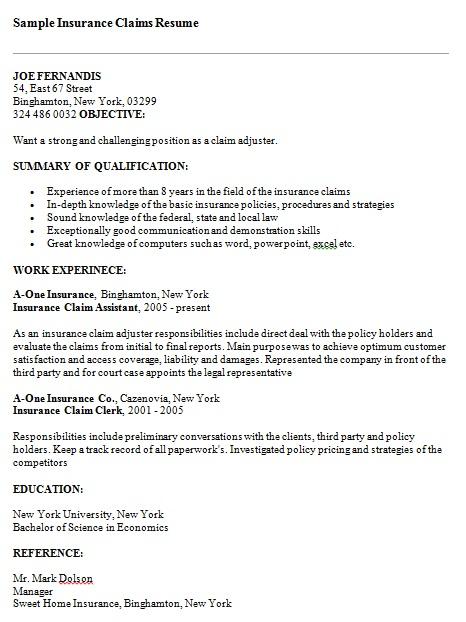 sample insurance claims resume