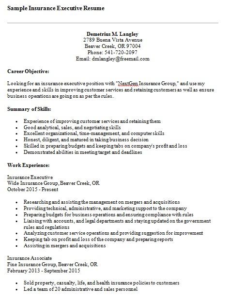 sample insurance executive resume
