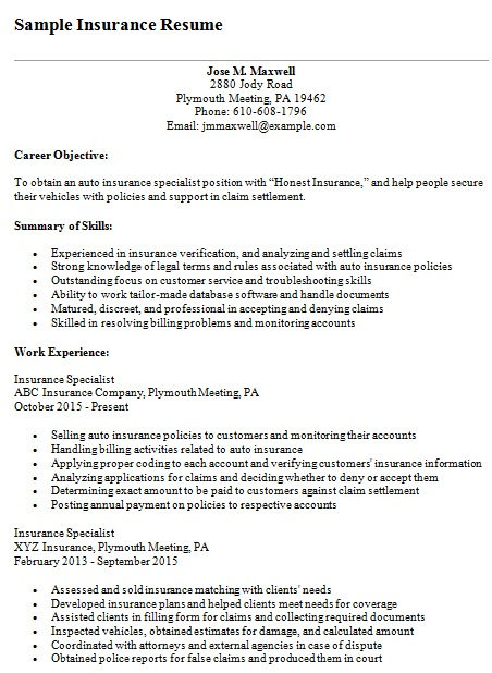 sample insurance resume