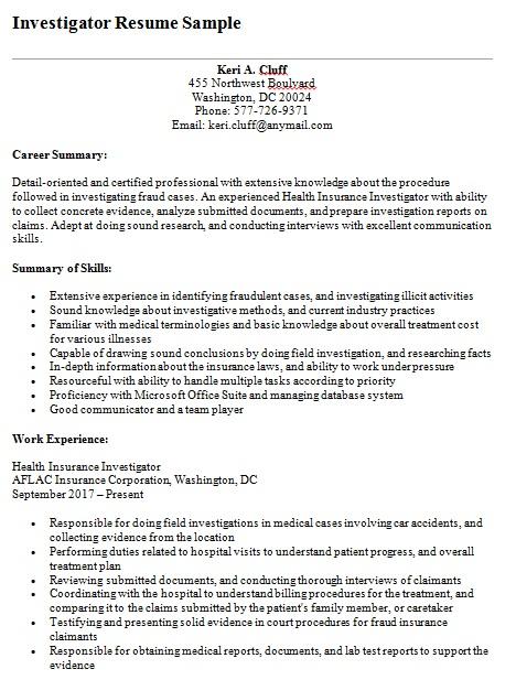 sample investigator resume