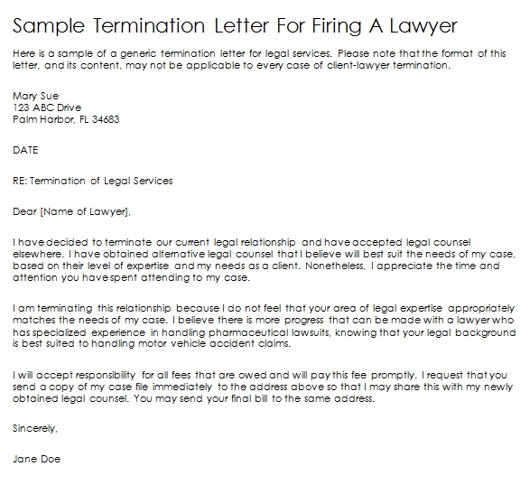 sample termination letter for firing a lawyer