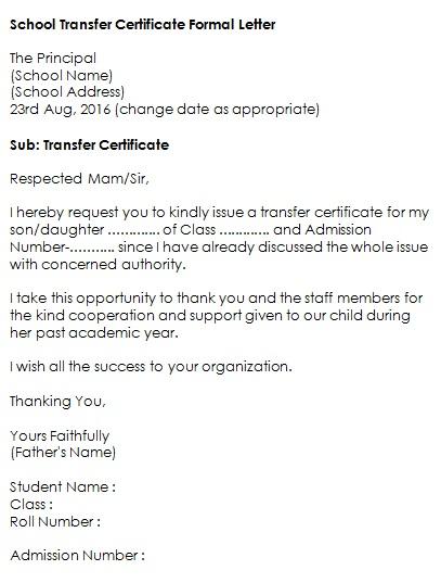 school transfer certificate formal letter
