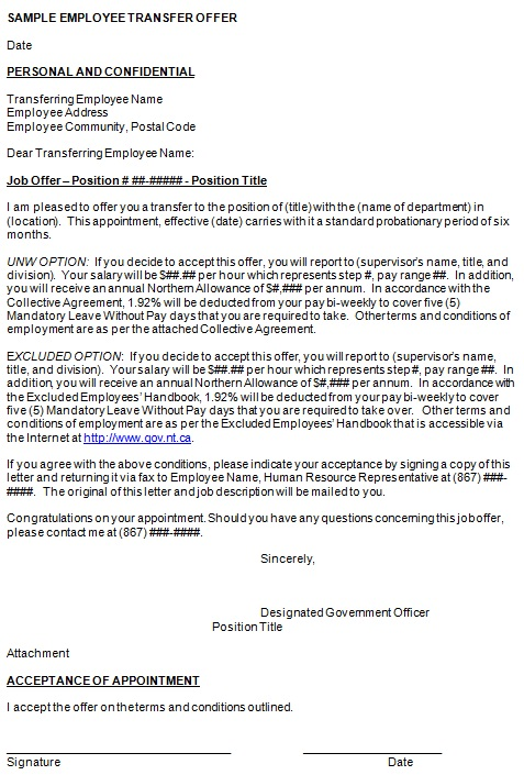 transfer offer letter from employer to employee