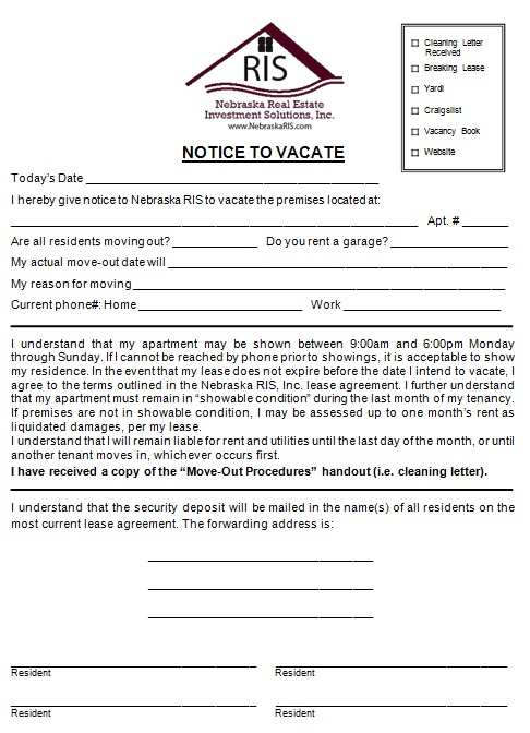 30 day notice to vacate