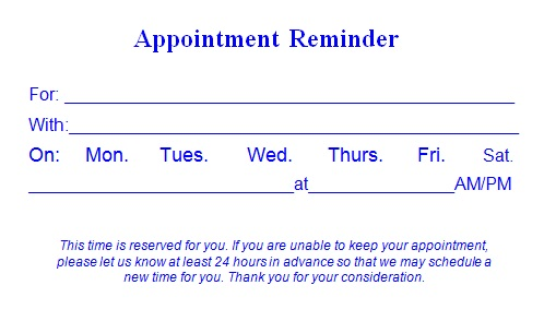 appointment cards template 13