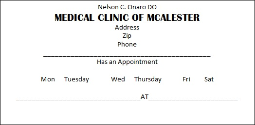 appointment cards template 29