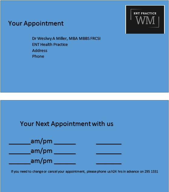 appointment cards template 31