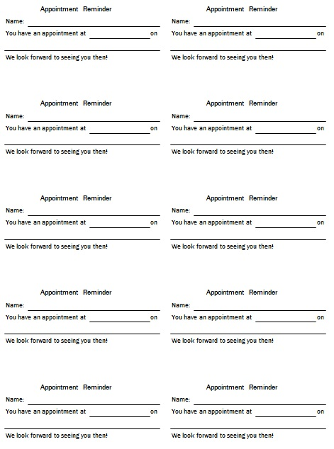 appointment cards template 6