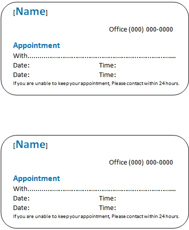 appointment cards template 8