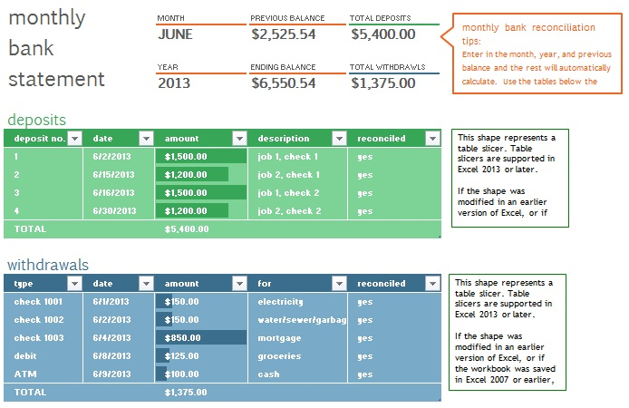 bank statement template 2