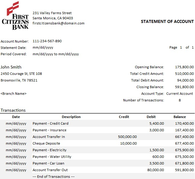 bank statement template 4