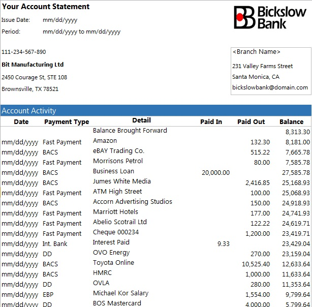 bank statement template 5