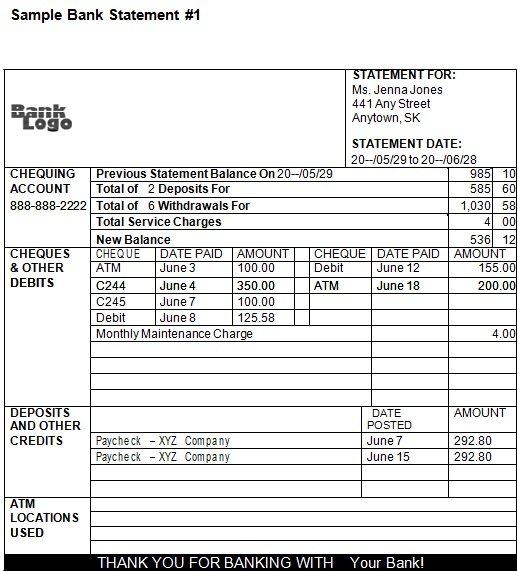 bank statement template 8