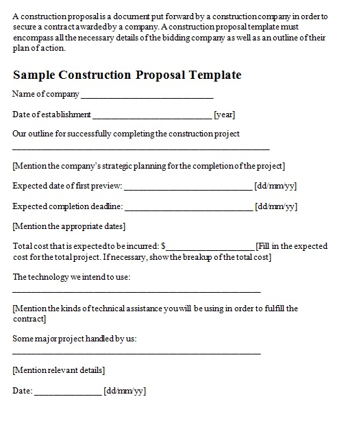 construction proposal template 8