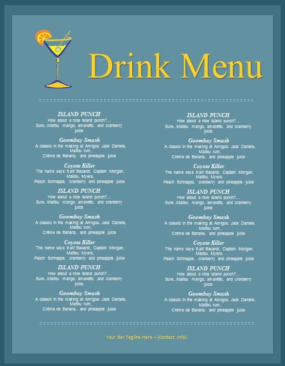 drink menu template 23