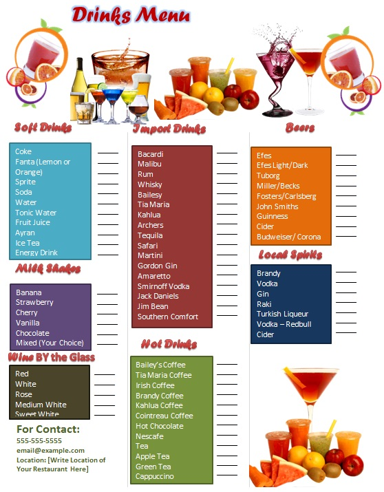 28+ Free Drink Menu Templates [Word]