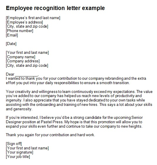 employee recognition letter template 1