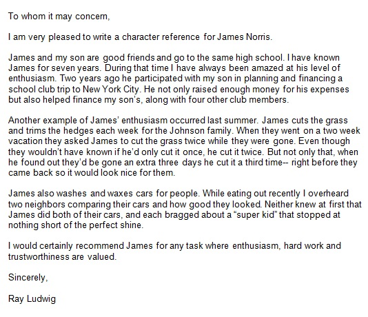 personal reference letter 2