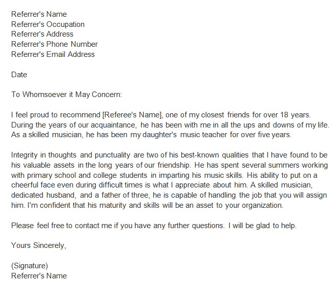personal reference letter 22