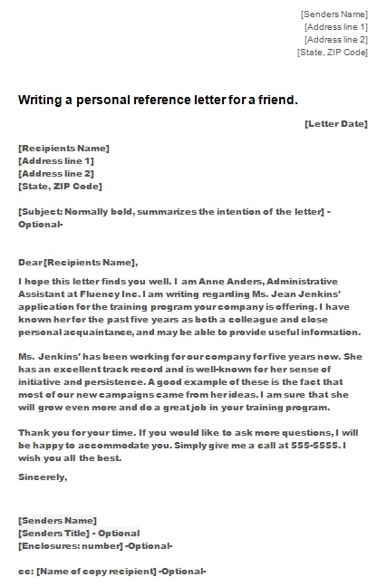 personal reference letter 7