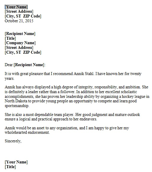 personal reference letter 8