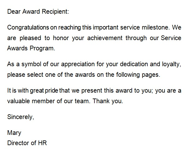 recognition letter for achieiving milestones