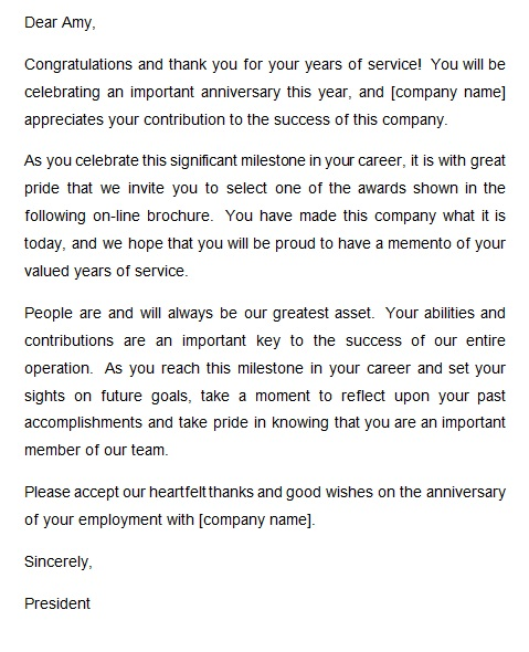 recognition letter for company anniversary 1