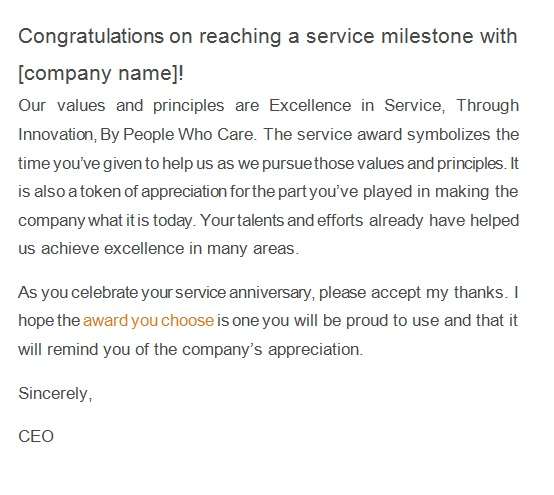recognition letter for company anniversary