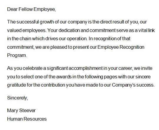 recognition letter for dedication 1