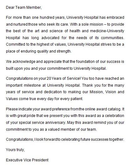 recognition letter for dedication 2