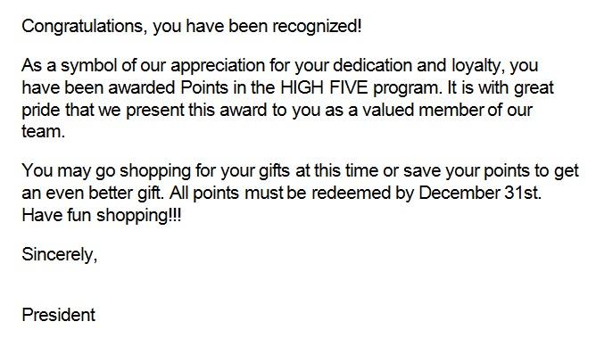 recognition letter for dedication