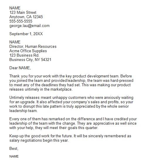 recognition letter for development team