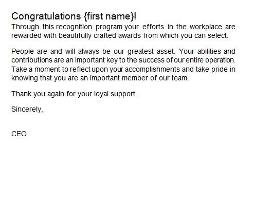 recognition letter for efforts