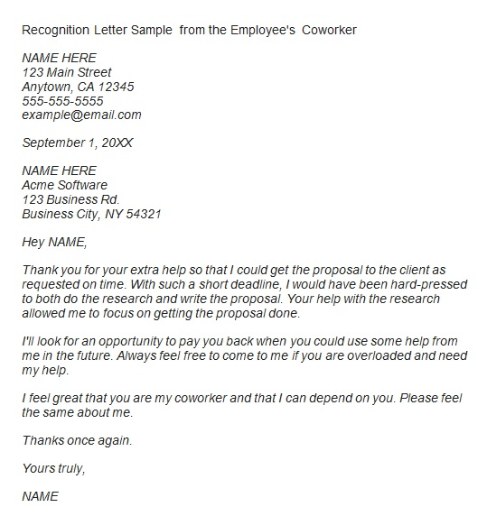 recognition letter for extra help