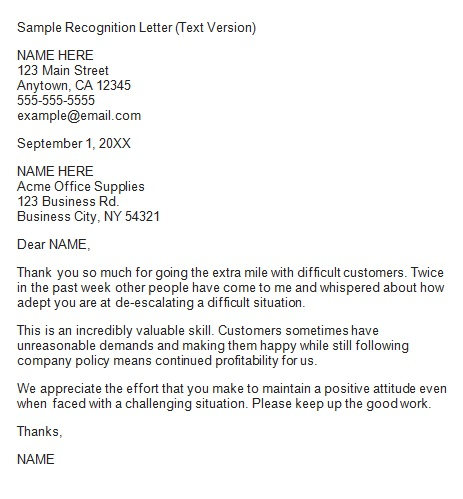 recognition letter for handling customers