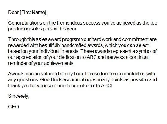 recognition letter for hardwork